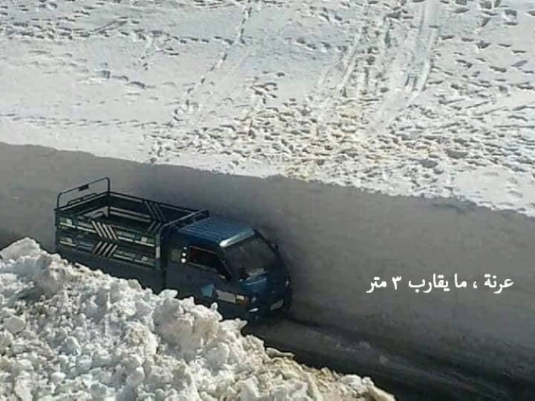 بالصور : ارتفاع الثلوج بالأمتار بعدة مناطق في جنوب سورية